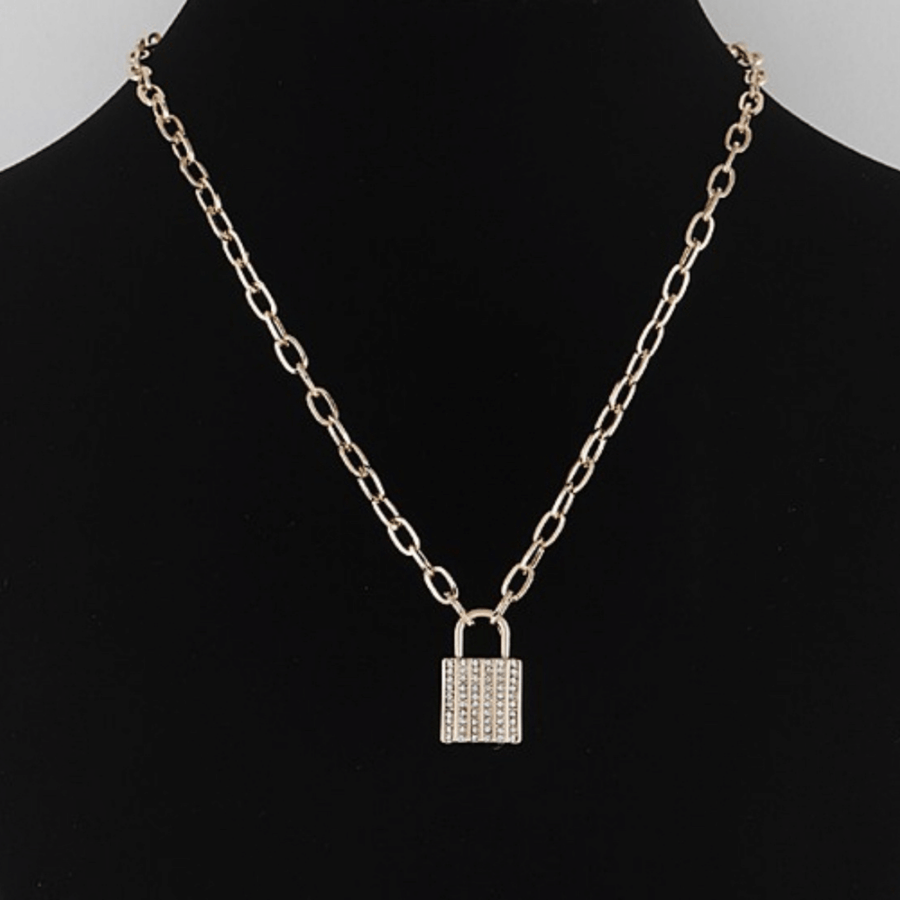 Rhinestone Lock Necklace - Gold - Shop Amour Boutique