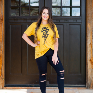 Stay Wild Lightning Bolt Mustard Shirt - Shop Amour Boutique