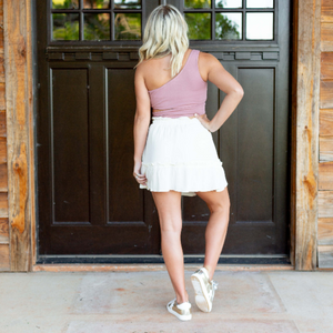 Ruffled Mini Skirt - Cream - Shop Amour Boutique