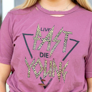Live Fast Die Young Cheetah Shirt - Shop Amour Boutique