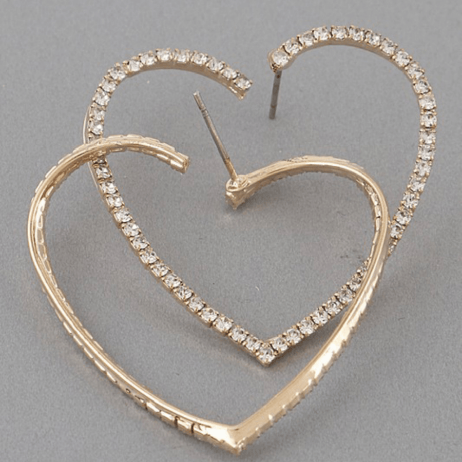 Heart Rhinestone Earrings - Gold - Shop Amour Boutique
