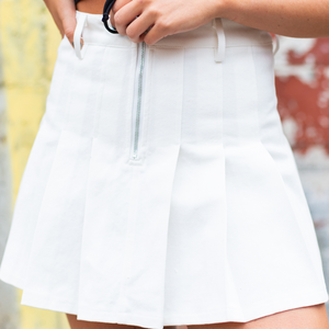 High Waisted Pleated Denim Skirt - White - Shop Amour Boutique