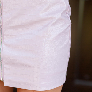 Pink Leather Mini Skirt - Shop Amour Boutique