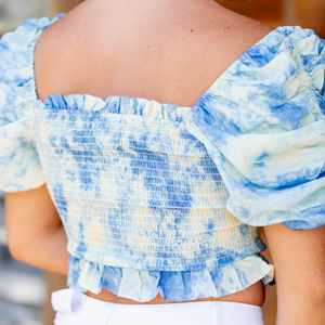 Blue Tie Dye Smocked Top - Shop Amour Boutique
