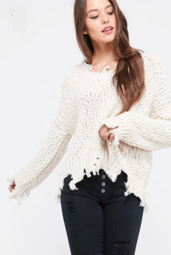 Pull Over Frayed Popcorn Sweater