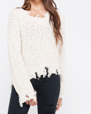 Pull Over Frayed Popcorn Sweater - Shop Amour Boutique