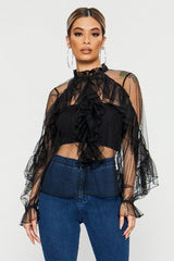 Tempting Lace Long Sleeve Ruffle Top - Shop Amour Boutique