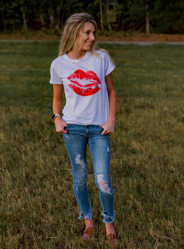 One Kiss Is All It Takes Graphic T-Shirt - Shop Amour Boutique