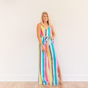 Brighter Days Striped Jumpsuit - Shop Amour Boutique