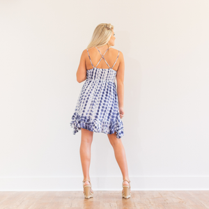 Blue Tie Dye Short Dress - Shop Amour Boutique