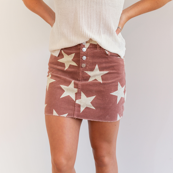 Unforgettable Star Corduroy Skirt - Mauve - Shop Amour Boutique