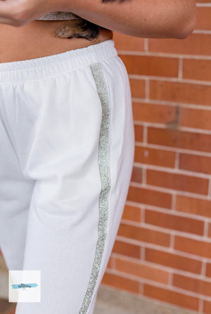 Rhinestone Jogger Set - White - Shop Amour Boutique