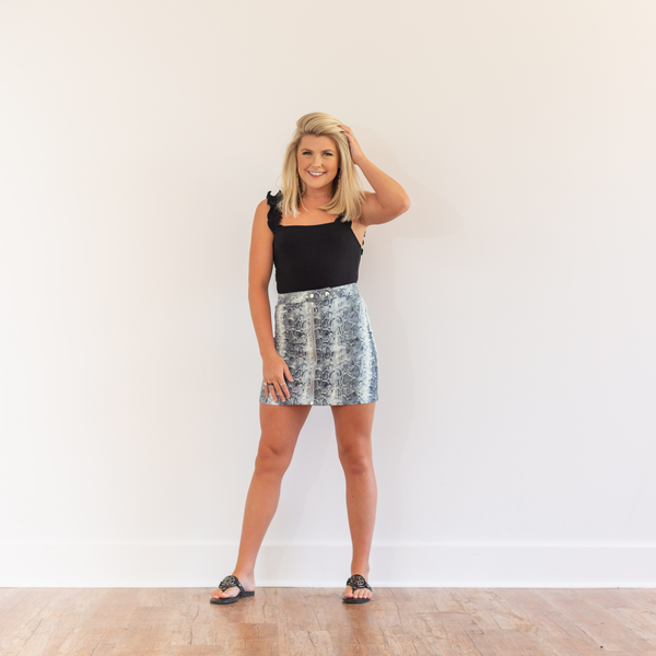 Snake Print Denim Skirt - Shop Amour Boutique