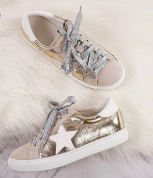 Going For Gold Star Sneakers - Shop Amour Boutique