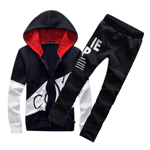 4b0321401f0e ... 2018 brand sporting suit men warm hooded tracksuit track men s sweat suits  set letter print large ...