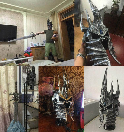 WOW Lich King Prince Arthas Menethil 1:1 Wearable Helmet Polystone Death Knight - ComplexExpress