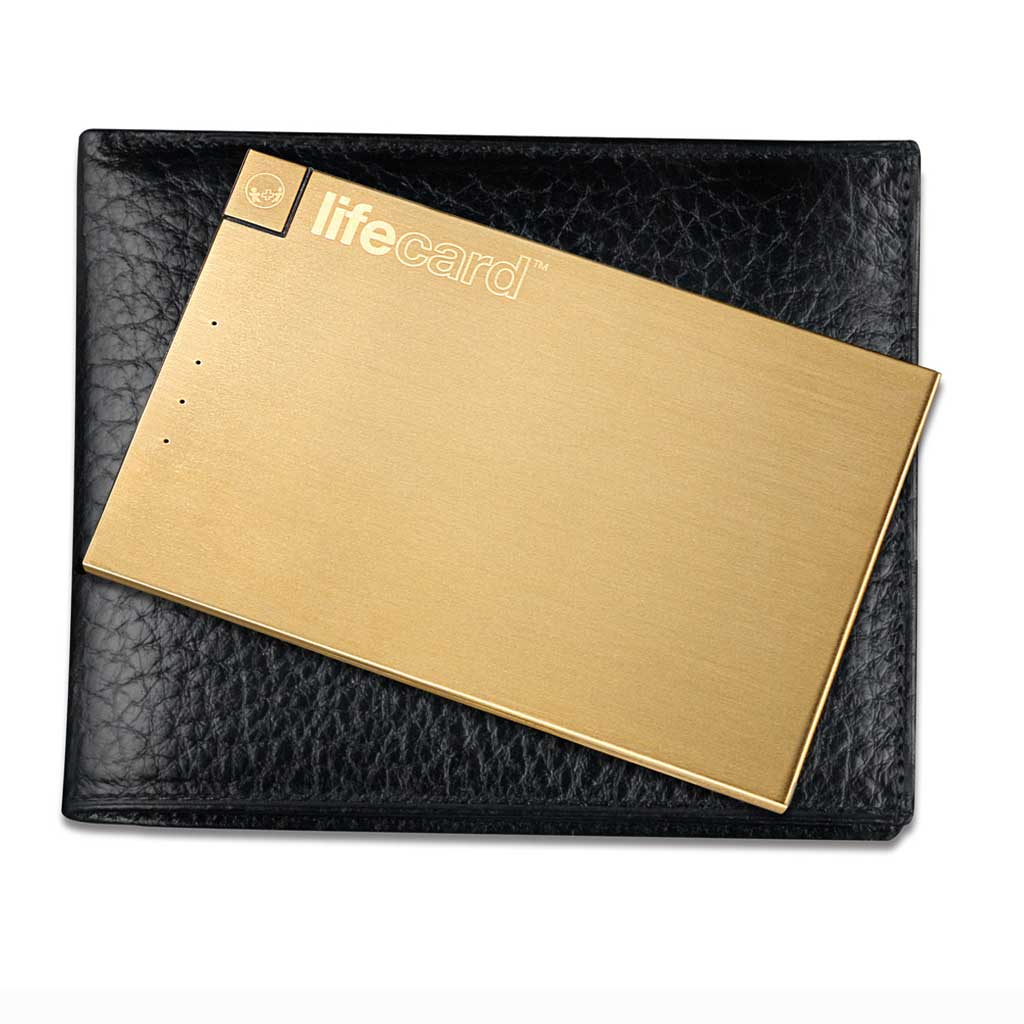 LifeCard Ultra Portable Power - Built-in Lightning Cable - 20K Gold Finish