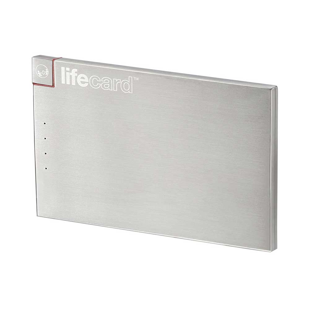 LifeCard Ultra Portable Power - Built-in MFi Lightning Cable - Stainless Steel Finish