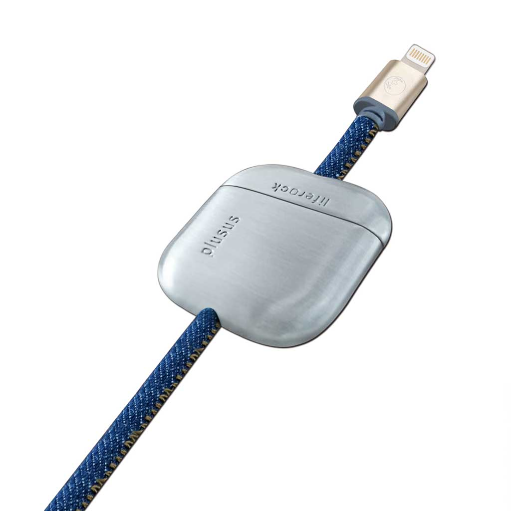 LifeRock 10 ft (3m) Lightning to USB cable, Stitched Denim finish with Adjustable Weight