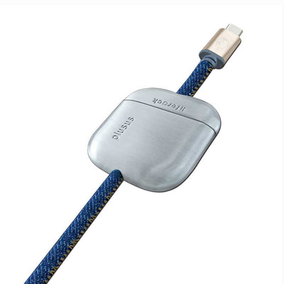 LifeRock 10 ft (3m) USB-C to USB Cable in Stitched Denim with Adjustable Weight
