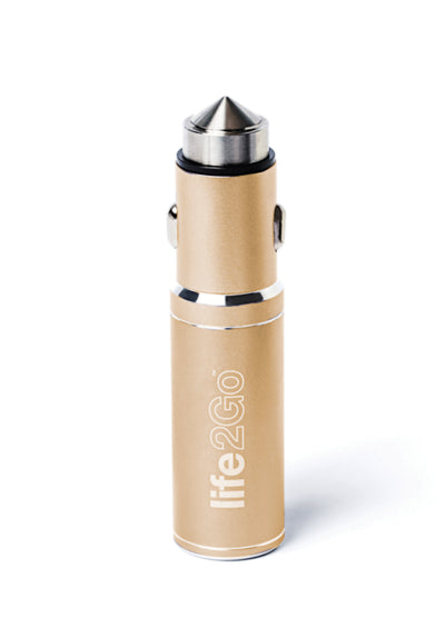 Life2Go - 2-in-1 Car Charger & Portable Powerbank -  Copper