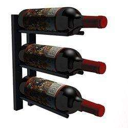 1 ft Wall Mounted Metal Rails Wine Rack 3 Bottles - Cork Out,1 Foot Cork Out Wall Mounted Rails