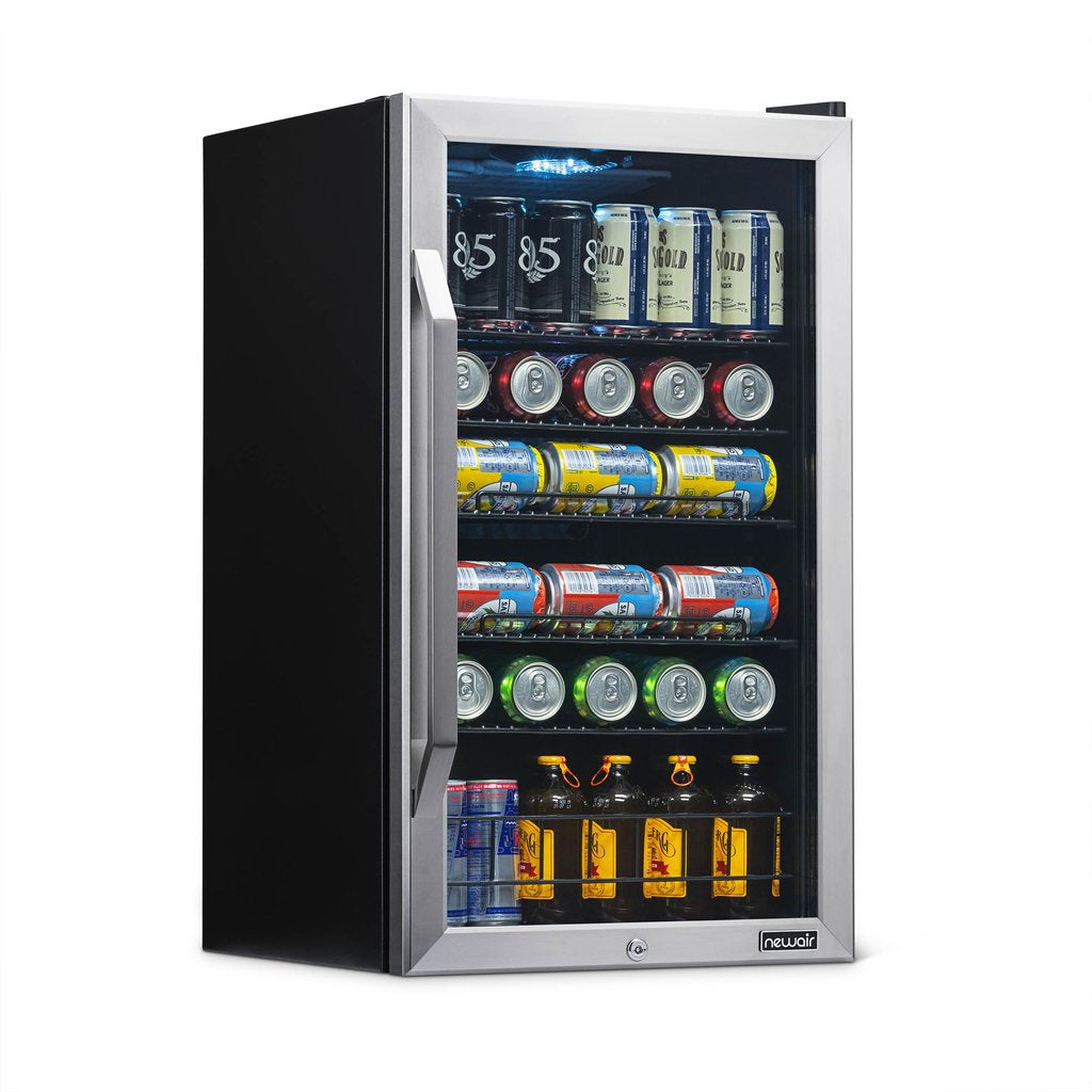 NewAir 126 Can Freestanding Beverage Fridge in Stainless Steel with Handle