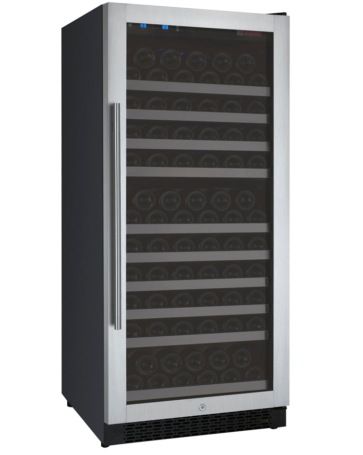 "24"" Wide FlexCount II Tru-Vino 128 Bottle Single Zone Stainless Steel Right Hinge Wine Refrigerator"