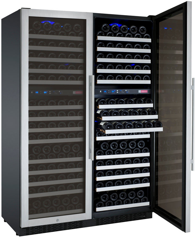 "Allavino 47"" Wide FlexCount II Tru-Vino 344 Bottle Four-Zone Stainless Steel Side-by-Side Wine Refrigerator"