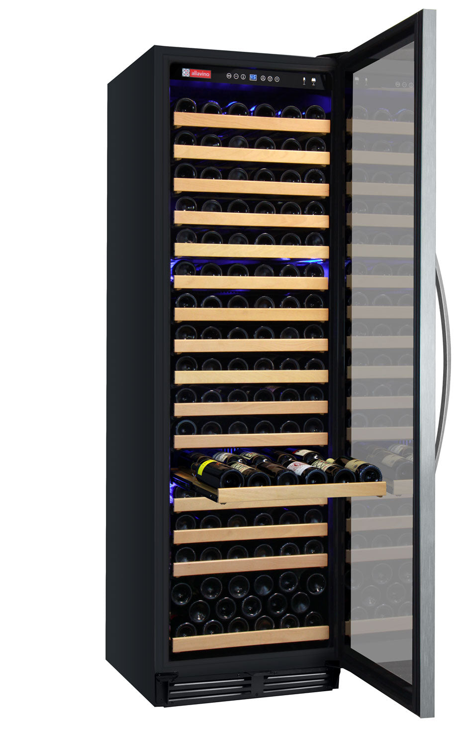 "Allavino 24"" Wide FlexCount Classic II Tru-Vino 174 Bottle Single Zone Stainless Steel Wine Refrigerator"