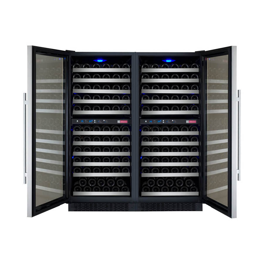 "Allavino 47"" Wide FlexCount II Tru-Vino 242 Bottle Four Zone Stainless Steel Side-by-Side Wine Refrigerator"
