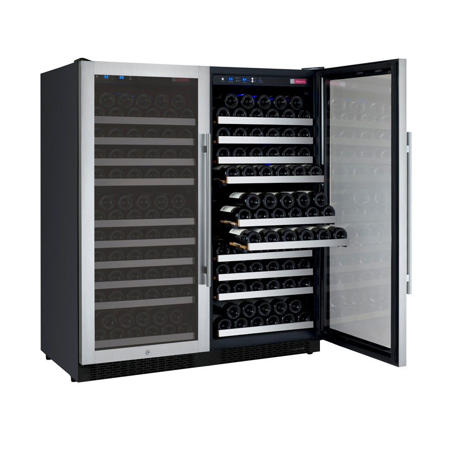 "Allavino 47"" Wide FlexCount II Tru-Vino 256 Bottle Dual Zone Stainless Steel Side-by-Side Wine Refrigerator"