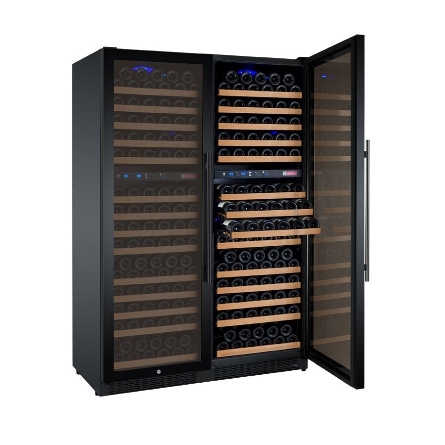 "Allavino 47"" Wide FlexCount II Tru-Vino 344 Bottle Four Zone Black Side-by-Side Wine Refrigerator"