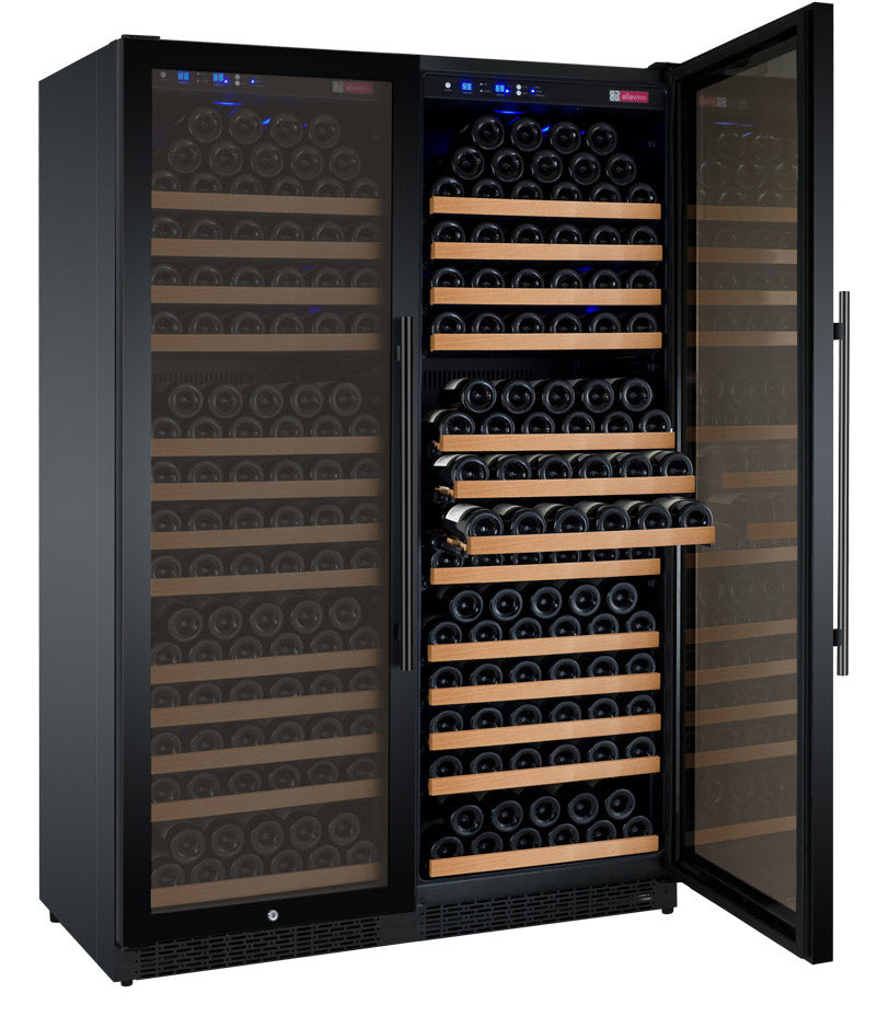 "Allavino 47"" Wide FlexCount II Tru-Vino 354 Bottle Dual Zone Black Side-by-Side Wine Refrigerator"