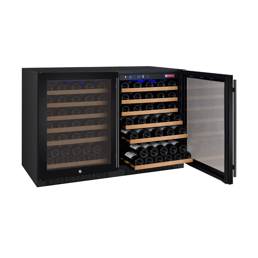 "Allavino 47"" Wide FlexCount II Tru-Vino 112 Bottle Dual Zone Black Side-by-Side Wine Refrigerator"