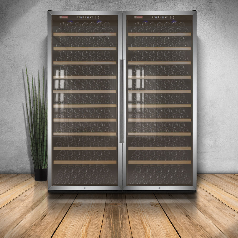 "Allavino 63"" Wide Vite II Tru-Vino 554 Bottle Dual Zone Stainless Steel Side-by-Side Wine Refrigerator"