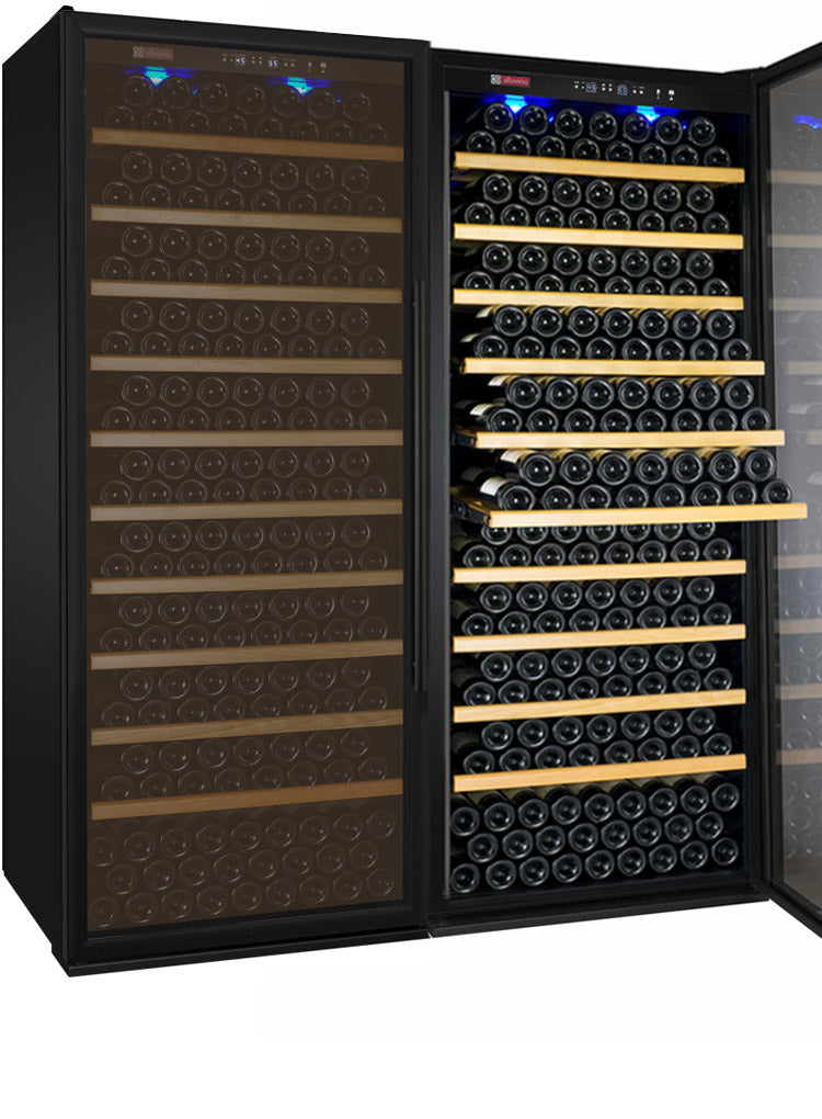 "Allavino 63"" Wide Vite II Tru-Vino 554 Bottle Dual Zone Black Side-by-Side Wine Refrigerator"