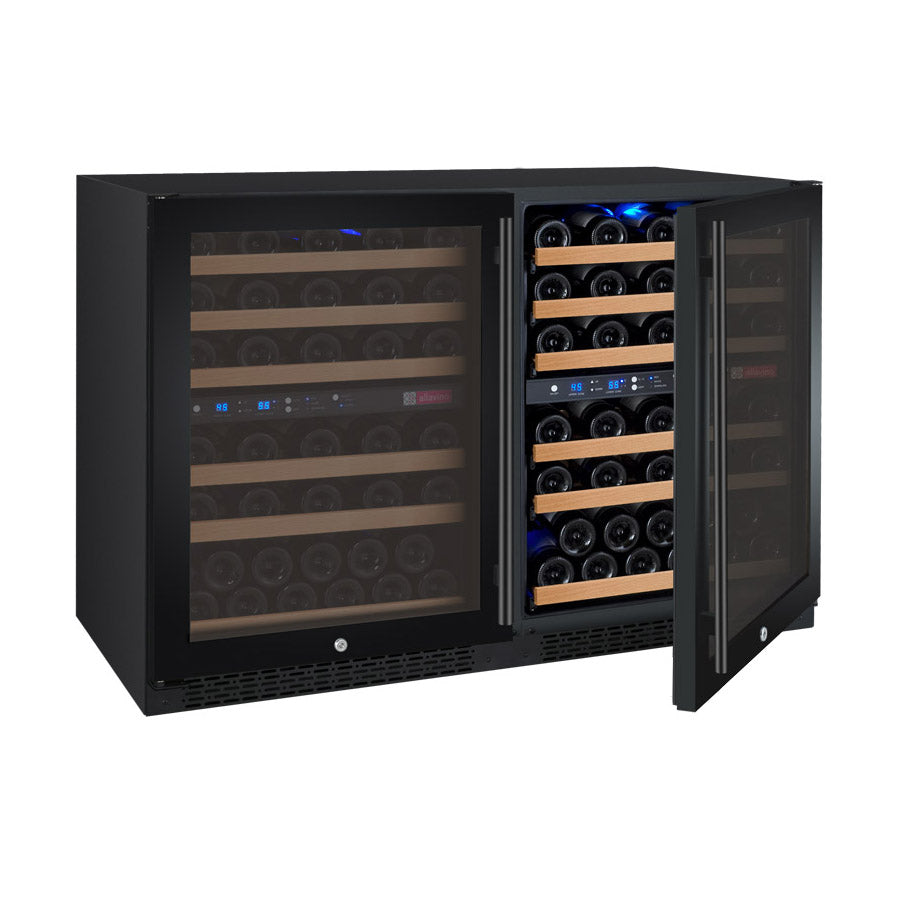 "Allavino 7"" Wide FlexCount II Tru-Vino 112 Bottle Four Zone Black Side-by-Side Wine Refrigerator"