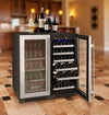 "Allavino 30"" Wide FlexCount II Tru-Vino 30 Bottle/88 Can Dual Zone Stainless Steel Side-by-Side Wine Refrigerator/Beverage Center"