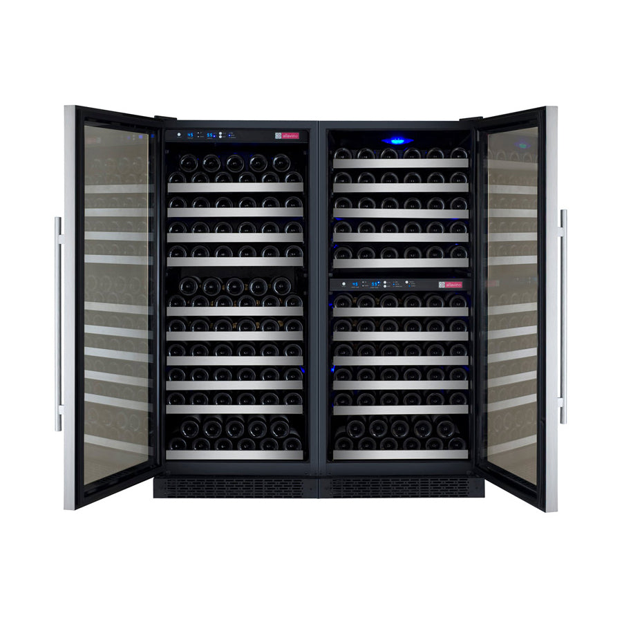 "Allavino 47"" Wide FlexCount II Tru-Vino 249 Bottle Three Zone Stainless Steel Side-by-Side Wine Refrigerator"
