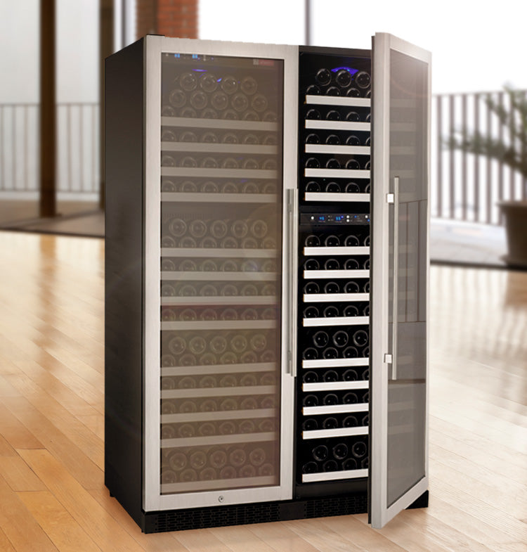 "Allavino 47"" Wide FlexCount II Tru-Vino 349 Bottle Three Zone Stainless Steel Side-by-Side Wine Refrigerator"