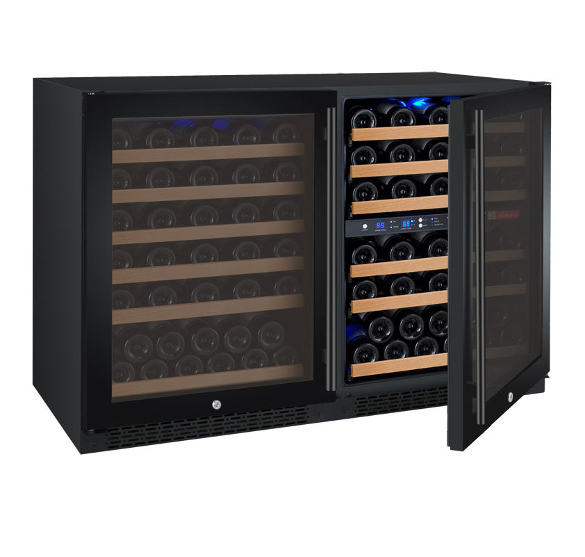 "Allavino 47"" Wide FlexCount II Tru-Vino 112 Bottle Three Zone Black Side-by-Side Wine Refrigerator"
