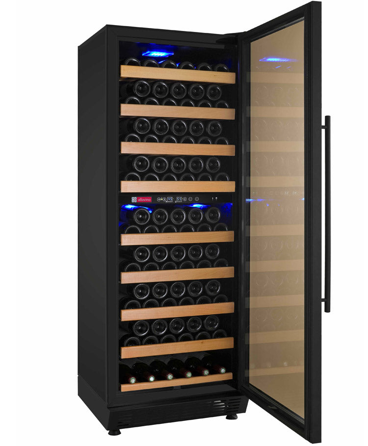 "Allavino 24"" Wide Vite II Tru-Vino 99 Bottle Dual Zone Black Right Hinge Wine Refrigerator"