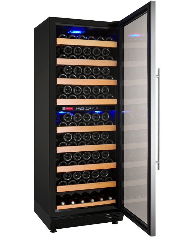 "Allavino 24"" Wide Vite II Tru-Vino 99 Bottle Dual Zone Stainless Steel Right Hinge Wine Refrigerator"