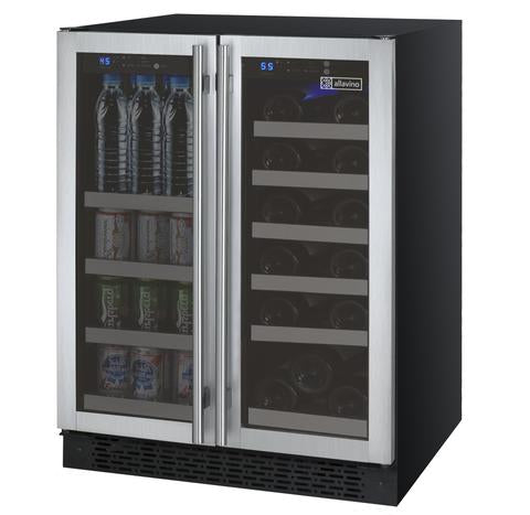 "24"" Wide FlexCount II Tru-Vino 18 Bottle/66 Cans Dual Zone Stainless Steel Wine Refrigerator/Beverage Center"