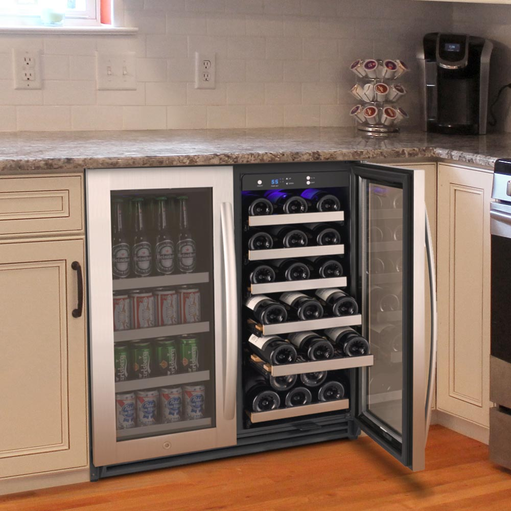 "30"" Wide FlexCount II Tru-Vino 30 Bottle/88 Can Dual Zone Stainless Steel Built-In Wine Refrigerator/Beverage Center"