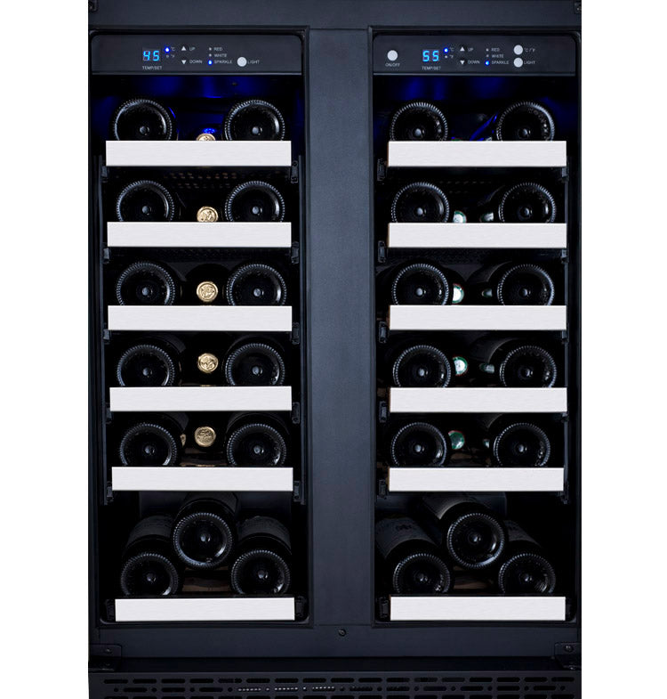 "Allavino 24"" Wide FlexCount II Tru-Vino 36 Bottle Dual Zone Stainless Steel Wine Refrigerator"