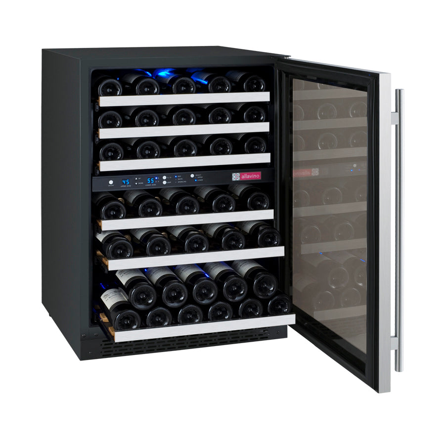 "Allavino 24"" Wide FlexCount II Tru-Vino 56 Bottle Dual Zone Stainless Steel Wine Refrigerator"