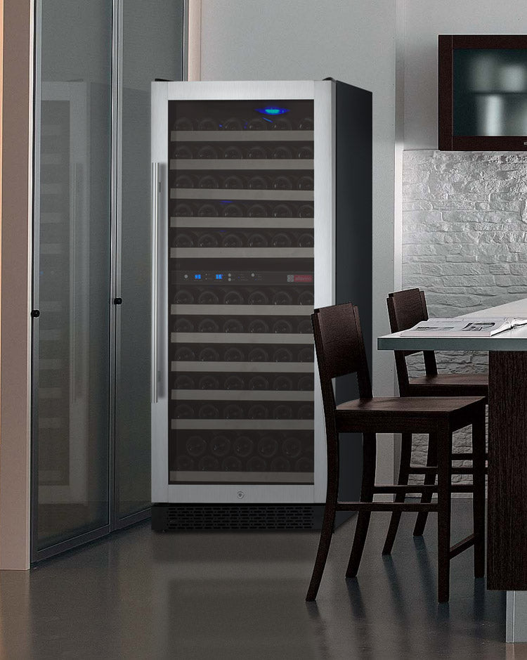 "Allavino 24"" Wide FlexCount II Tru-Vino 121 Bottle Dual Zone Stainless Steel Wine Refrigerator"