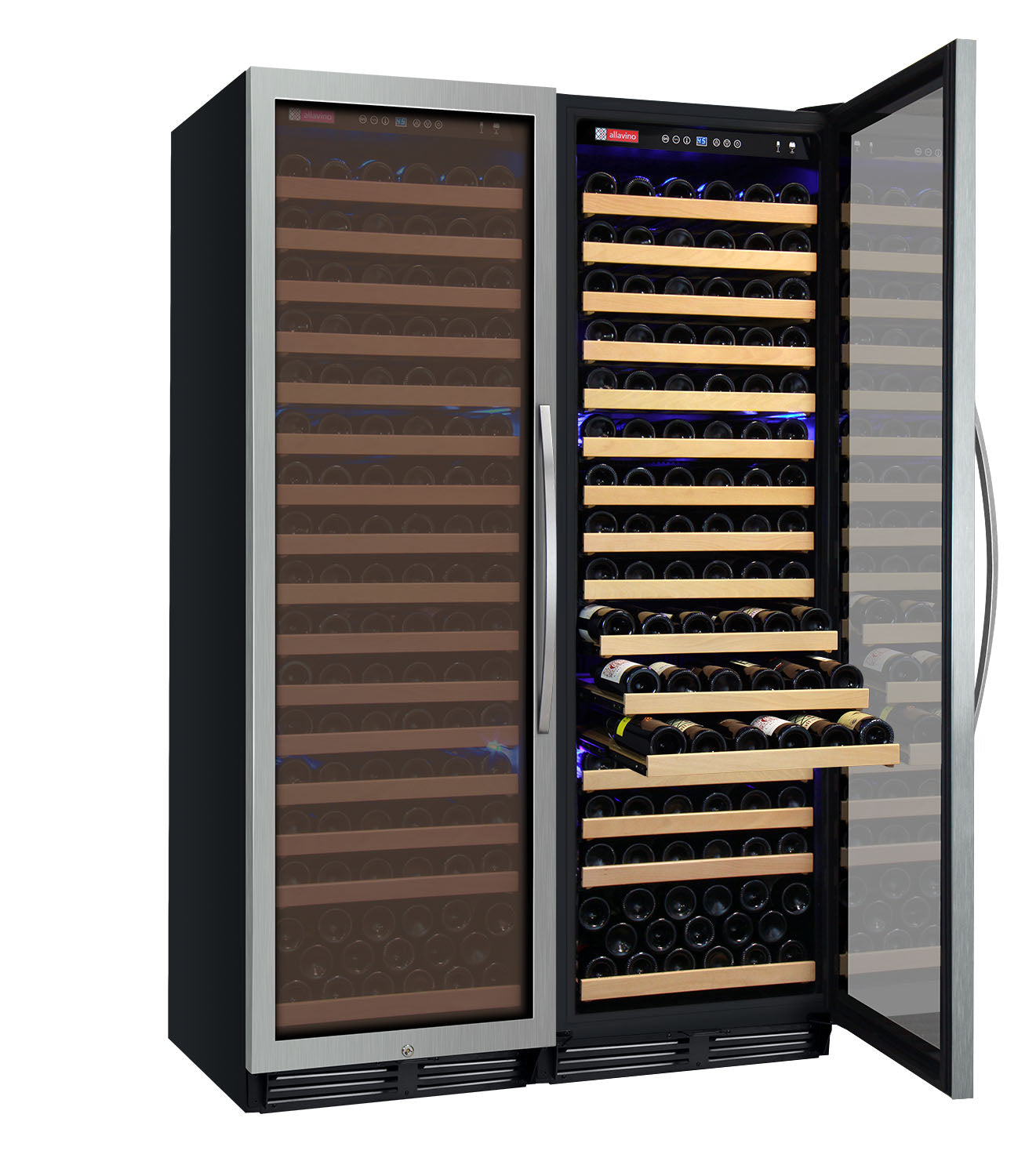 "Allavino 48"" Wide FlexCount Classic II Tru-Vino 348 Bottle Dual Zone Stainless Steel Side-by-Side Wine Refrigerator"